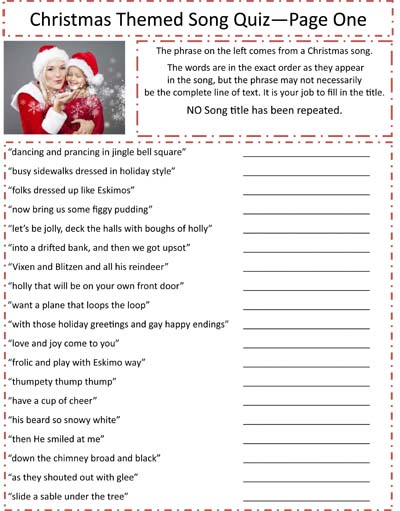 trivia games. Below you will find a list of Christmas music trivia ...