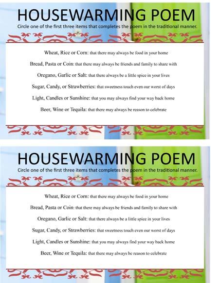 Housewarming Poem Game Sheet